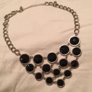 Silvertone & navy statement necklace